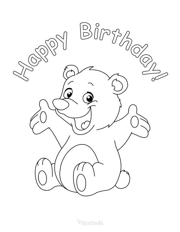happy birthday coloring pages - cute bear