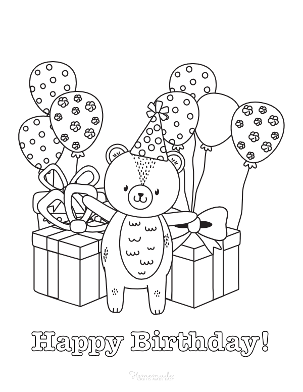 happy birthday coloring pages - cute bear with balloons