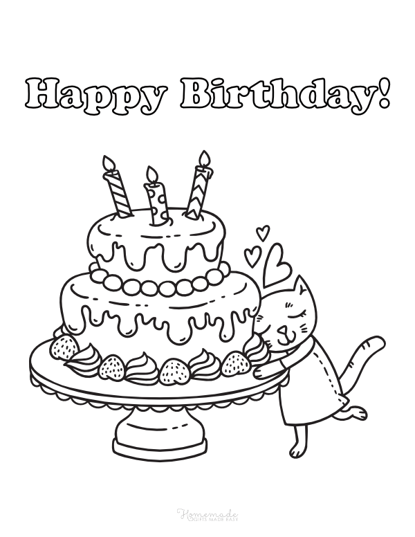 happy birthday coloring pages - cute cat with cake and candles