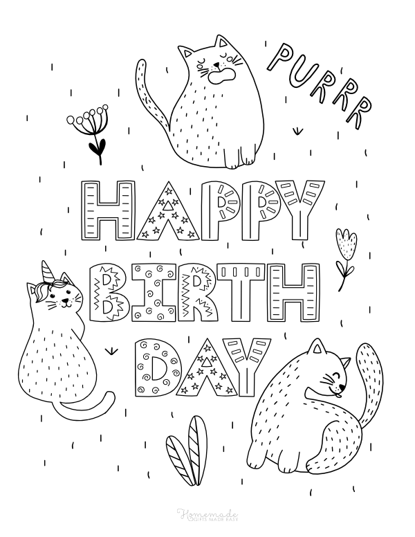 happy birthday coloring pages - cute cats and decorative font