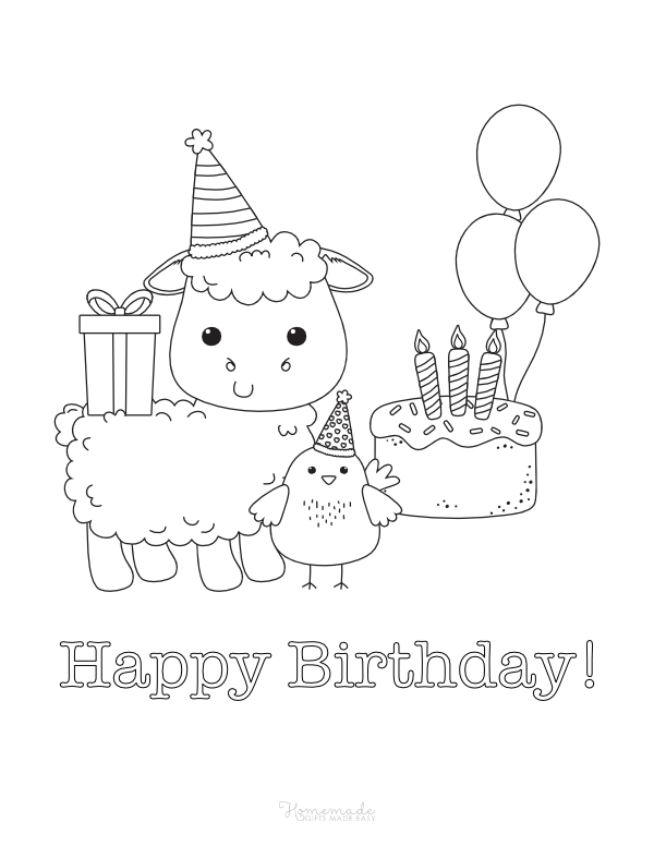 happy birthday coloring pages - sheep and chick with balloons