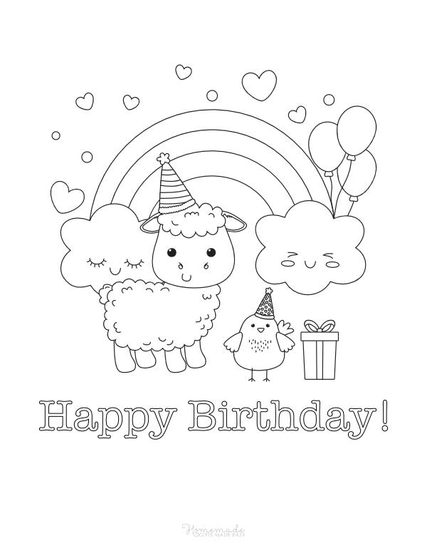 happy birthday coloring pages - sheep and check with rainbow