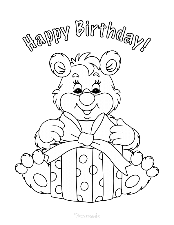 happy birthday coloring pages - teddy bear with gift box