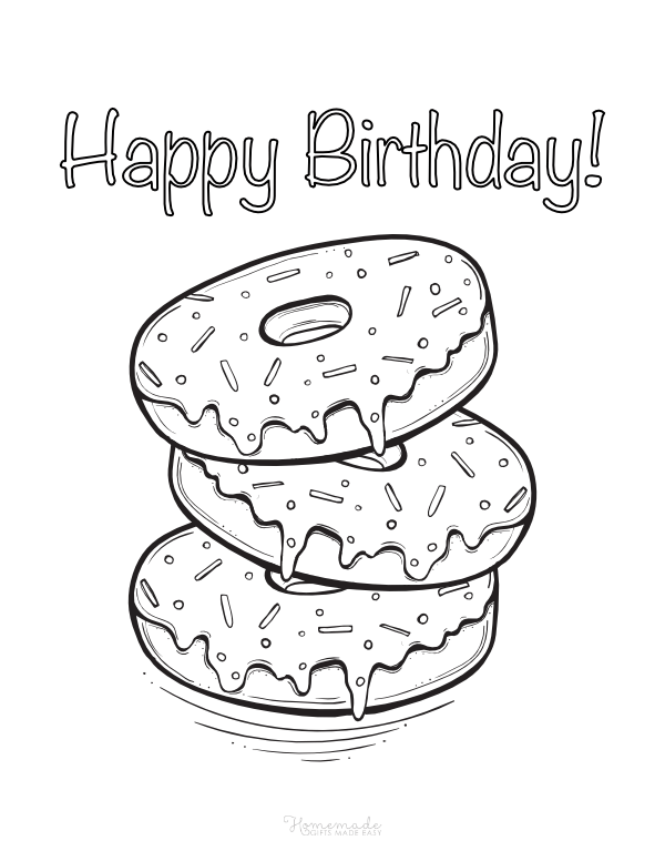 happy birthday coloring pages - donuts and sprinkles
