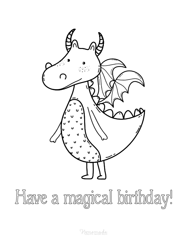 happy birthday coloring pages - magical dragon