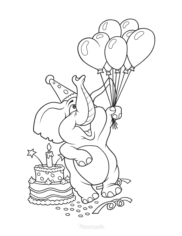 happy birthday coloring pages - elephant with cake and balloons