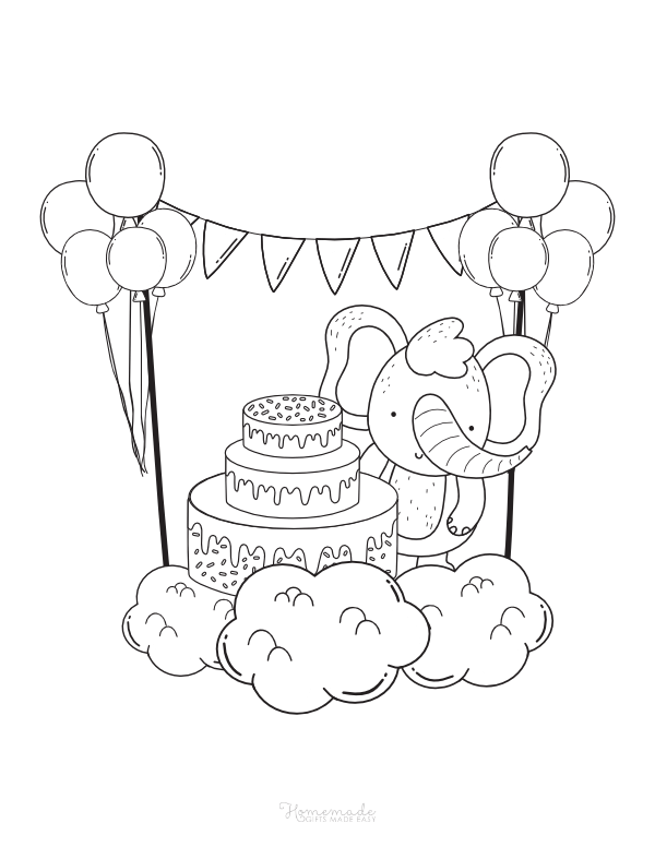happy birthday coloring pages - elephant with cake, balloons and bunting