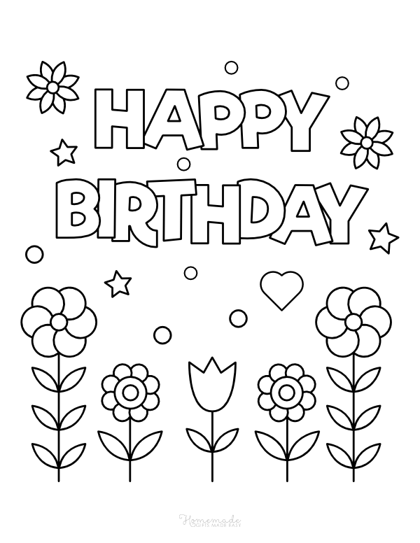happy birthday coloring pages - flowers, hearts and stars