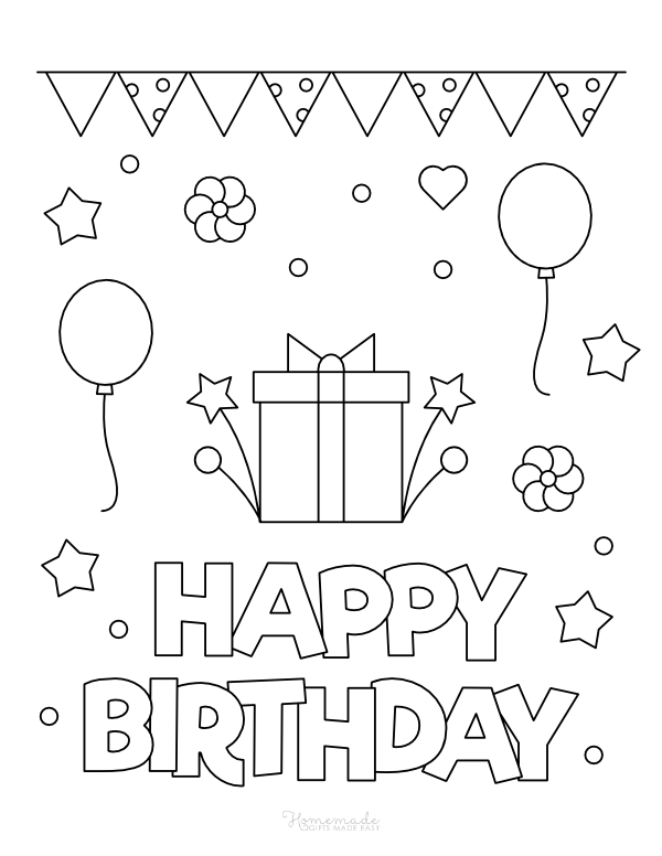 happy birthday coloring pages - gift with bow, balloons and bunting