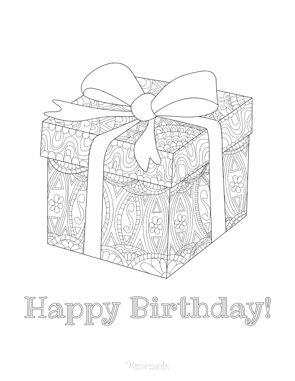 happy birthday coloring pages - gift doodle