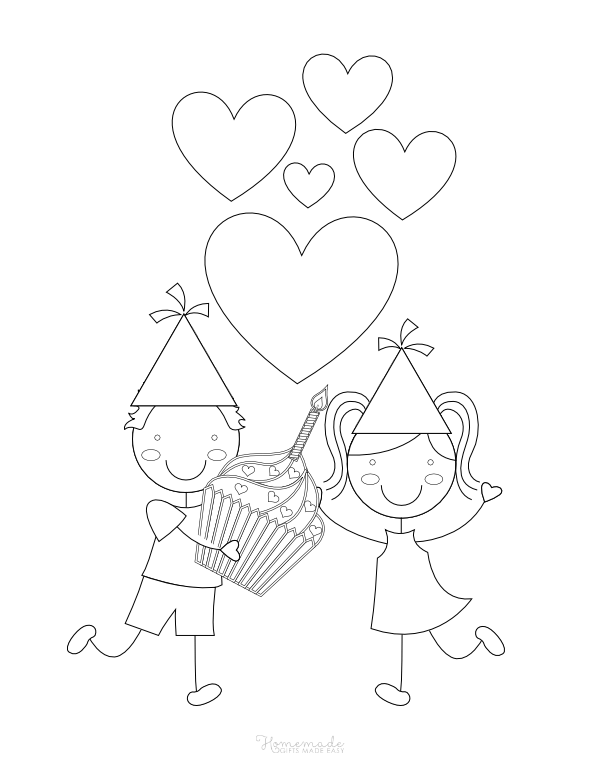happy birthday coloring pages - girl and boy with giant cupcake