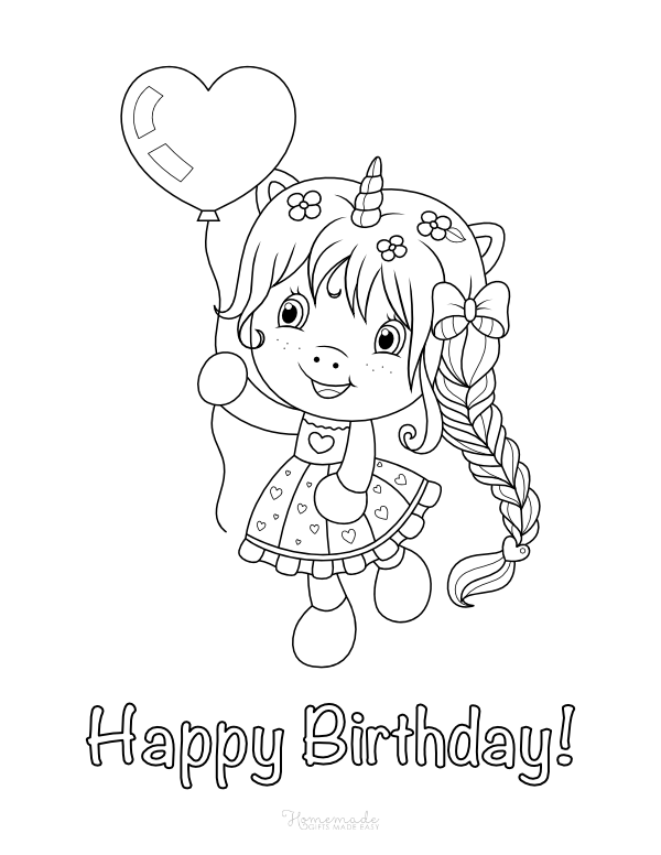 happy birthday coloring pages - girl unicorn with heart balloon