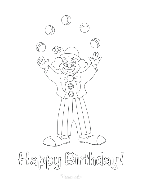 happy birthday coloring pages - juggling clown
