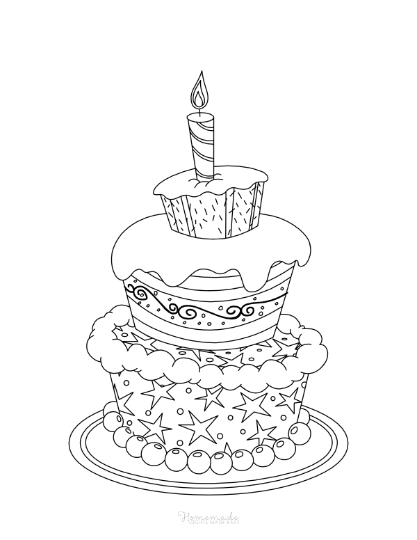 happy birthday coloring pages - layered cake with candle