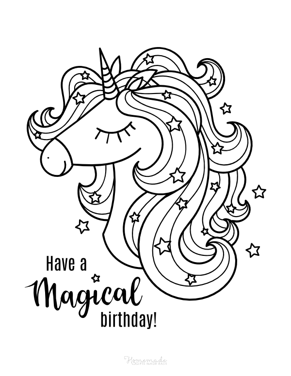 happy birthday coloring pages - magical unicorn with stars