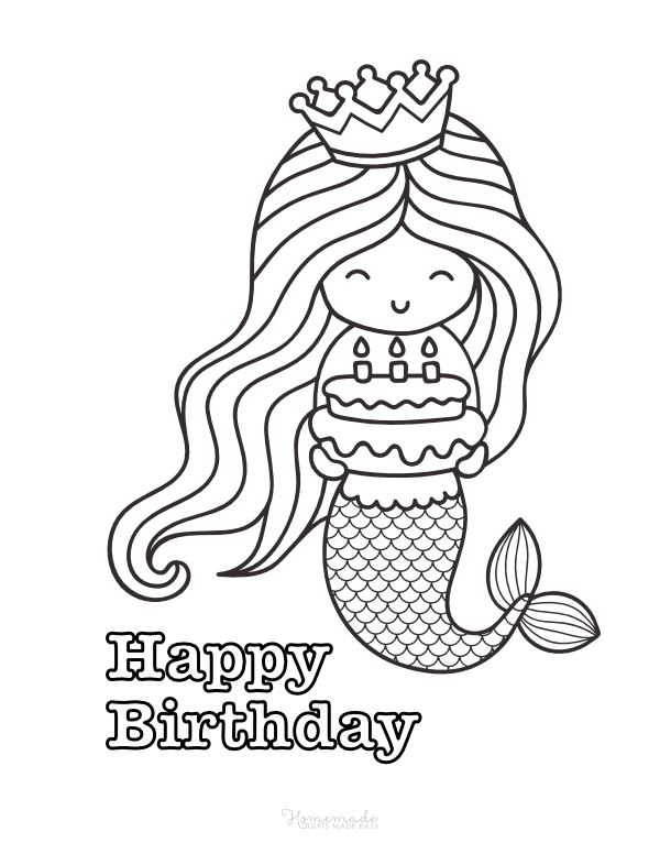 happy birthday coloring pages - mermaid with cake