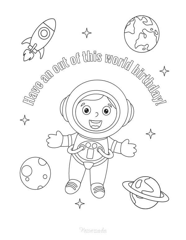 happy birthday coloring pages - out of this world astronaut with planets and rocket