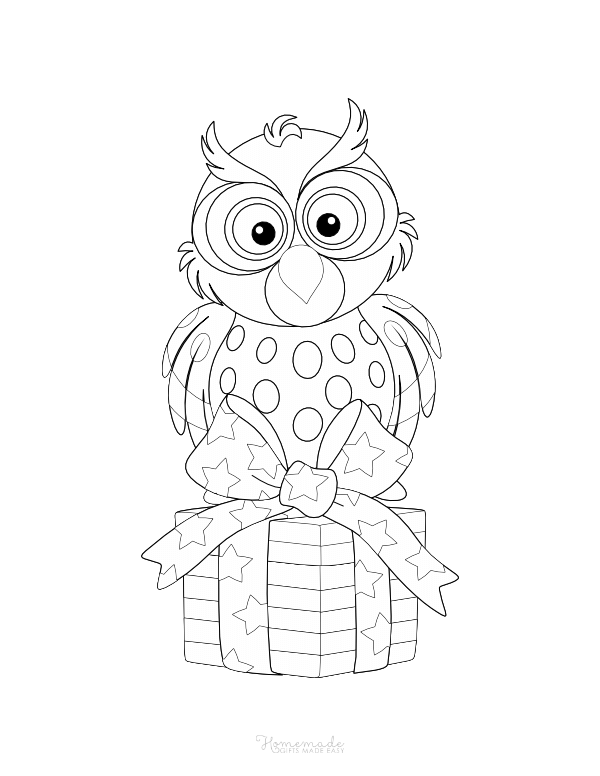 happy birthday coloring pages - owl sittting on wrapped gift