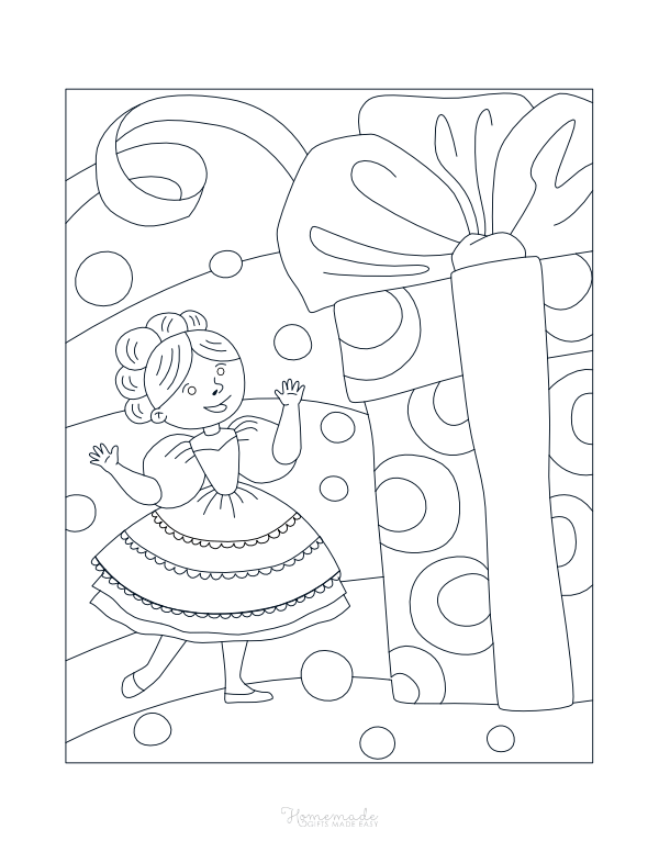 happy birthday coloring pages - princess with giant gift box