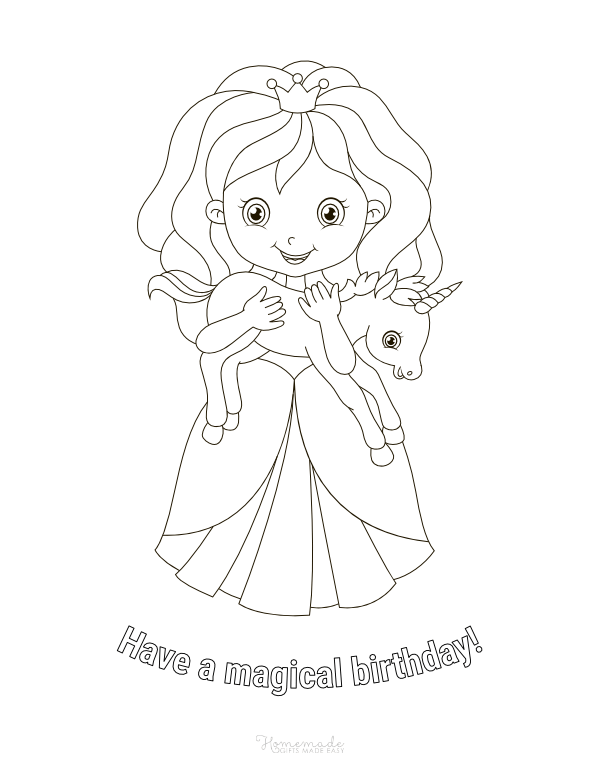 happy birthday coloring pages - princess with unicorn