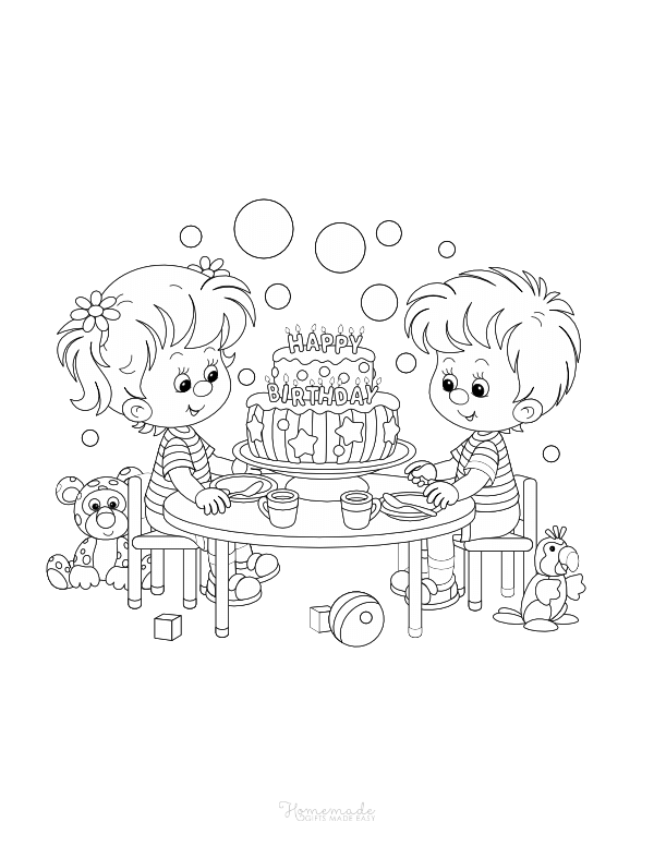 happy birthday coloring pages - tea party and cake