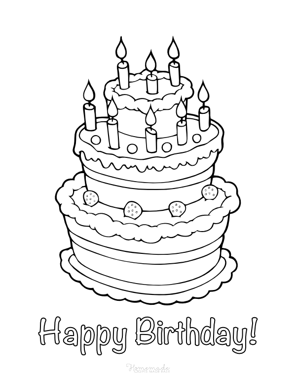 happy birthday coloring pages - tiered cake with candles