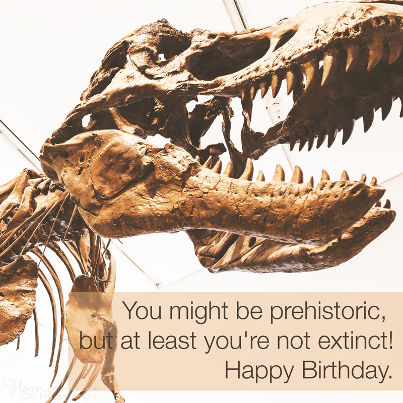 birthday wishes funny You might be prehistoric, but at least you're not extinct