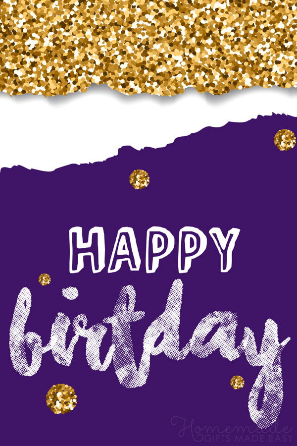 happy birthday images gold circles purple 600x900