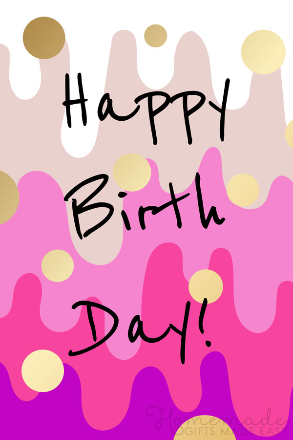 happy birthday images pink purple gold 600x900