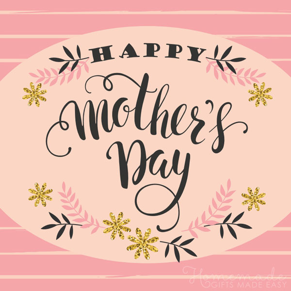happy mothers day images gold pink flowers 600x600