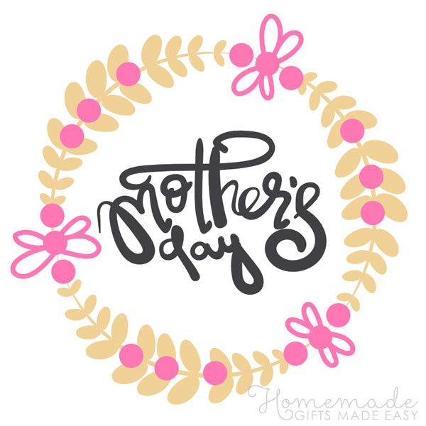 happy mothers day images pink yellow wreath 600x600