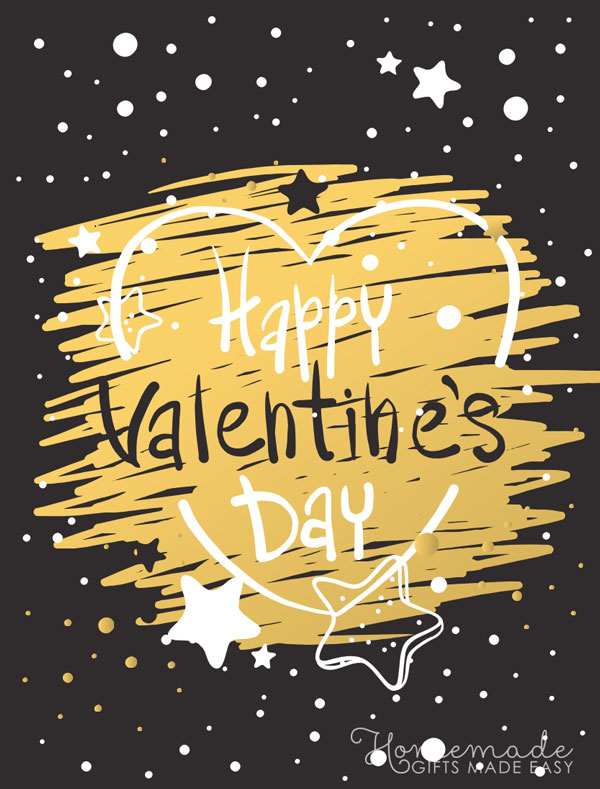 happy valentines day images black yellow heart 600x789
