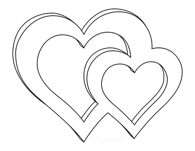 Heart Coloring Pages 3d Interlocking Hearts