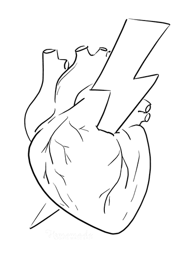 Heart Coloring Pages Anatomical Heart Lightening Bolt