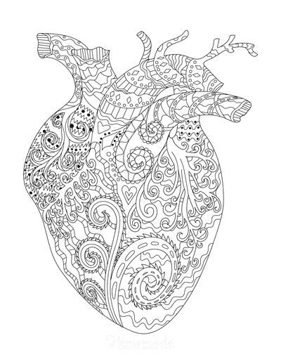 Heart Coloring Pages Anatomical Heart Shaped Doodle for Adults