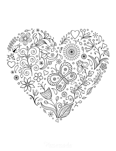 Heart Coloring Pages Butterfly Flowers Doodle for Adults