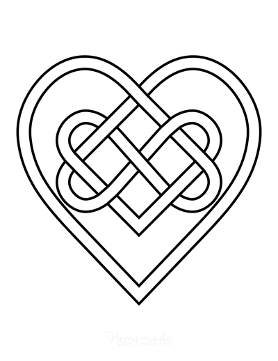 Heart Coloring Pages Celtic Hearts Knot