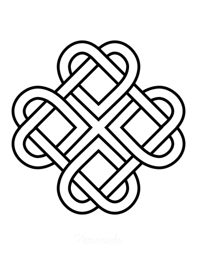 Heart Coloring Pages Celtic Interlocking Hearts
