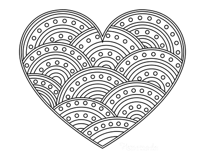 Heart Coloring Pages Curved Striped Pattern for Adults