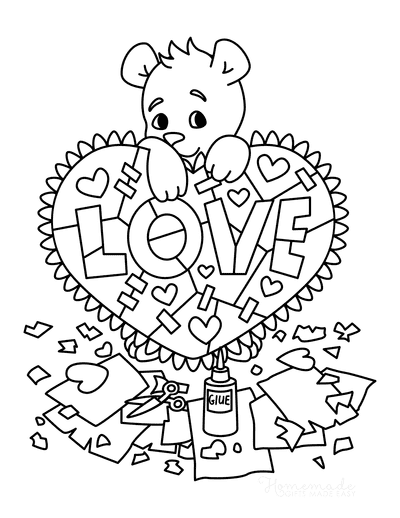 Heart Coloring Pages Cute Bear Valentine Craft
