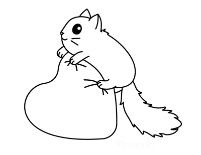 Heart Coloring Pages Cute Cat Climbing on Heart Cushion