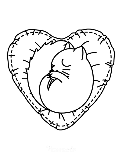 Heart Coloring Pages Cute Cat on Heart Cushion