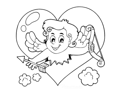 Heart Coloring Pages Cute Cupid With Bow