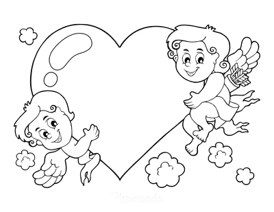 Heart Coloring Pages Cute Cupids With Large Heart