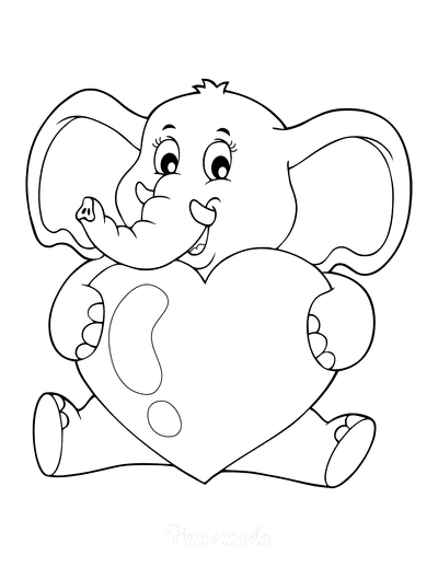 Heart Coloring Pages Cute Elephant Holding Heart