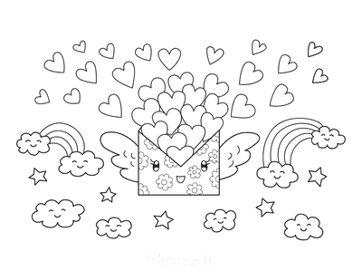 Heart Coloring Pages Cute Love Letter