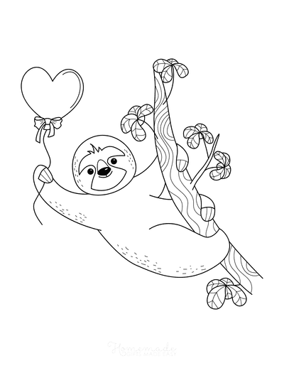 Heart Coloring Pages Cute Sloth Heart Balloon