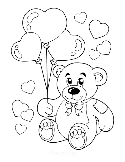 Heart Coloring Pages Cute Teddy Heart Balloons