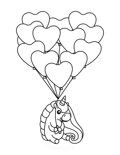 Heart Coloring Pages Cute Unicorn Bunch of Balloons