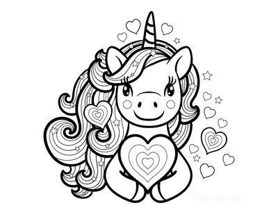 Heart Coloring Pages Cute Unicorn Holding Heart